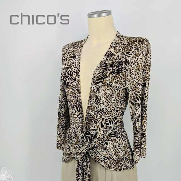 03dc8cf1084ab0 Chico s Tops - CHICO S Travelers Animal Print Tie Front Blouse